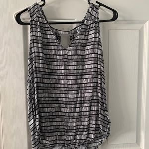 Black and White Tank Blouse